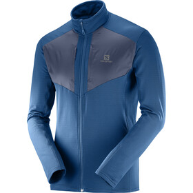 Salomon Grid Midlayer con zip frontale Uomo, poseidon/night sky